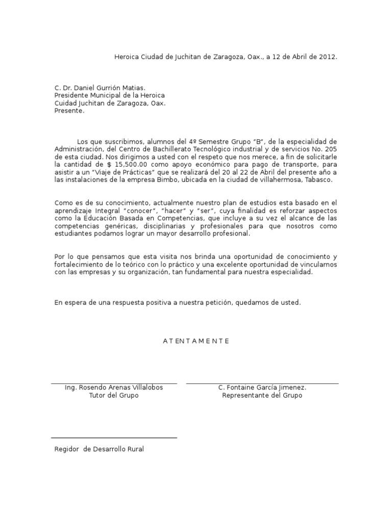 carta de solicitud para pedir algo