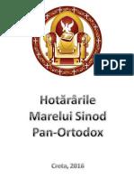 Hotărârile Sinodului Pan-Ortodox de La Creta - 2016