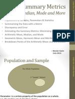 Data Summary Metrics