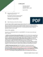 Robert M.A. Nadeau 2016 Bar Complaint