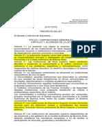 MOLLAU, Blanca y Otros. Proyecto de Ley de Educación Superior (2010)