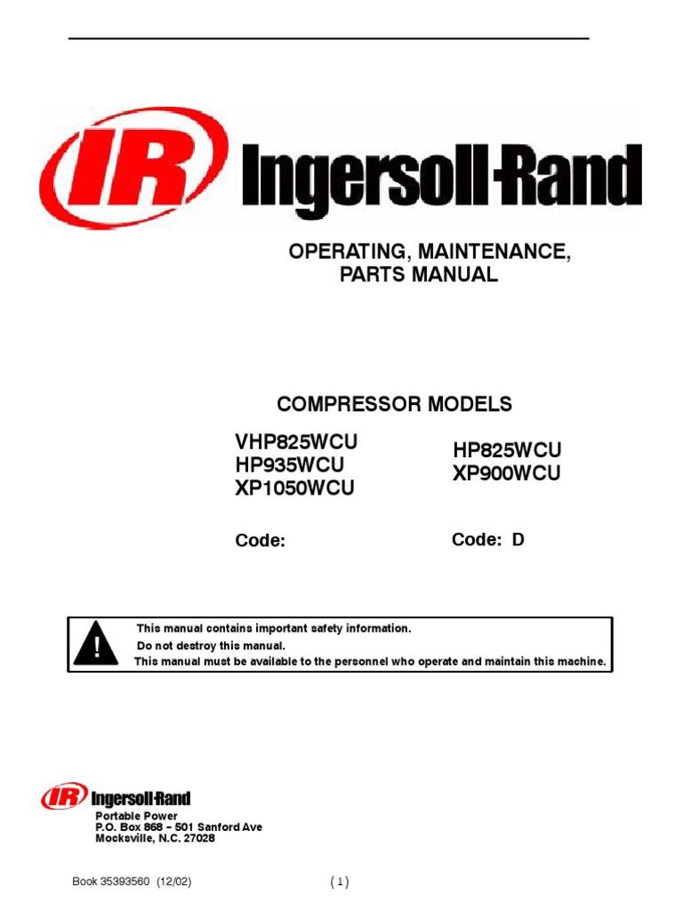 manual compresor ingersoll rand 900