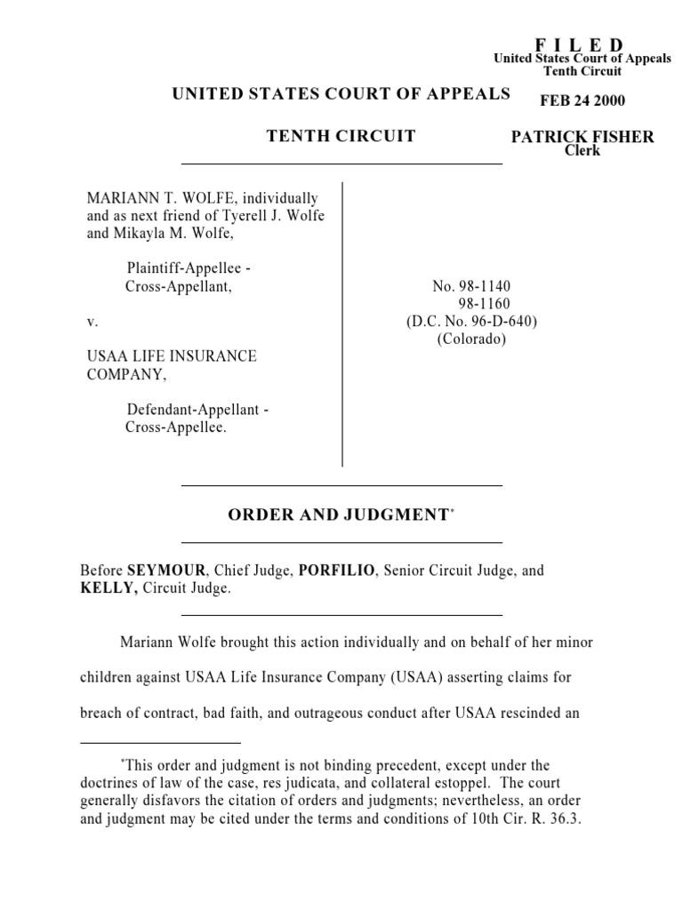 Wolfe v. USAA Life Insurance, 10th Cir. (2000)   Prejudice ...