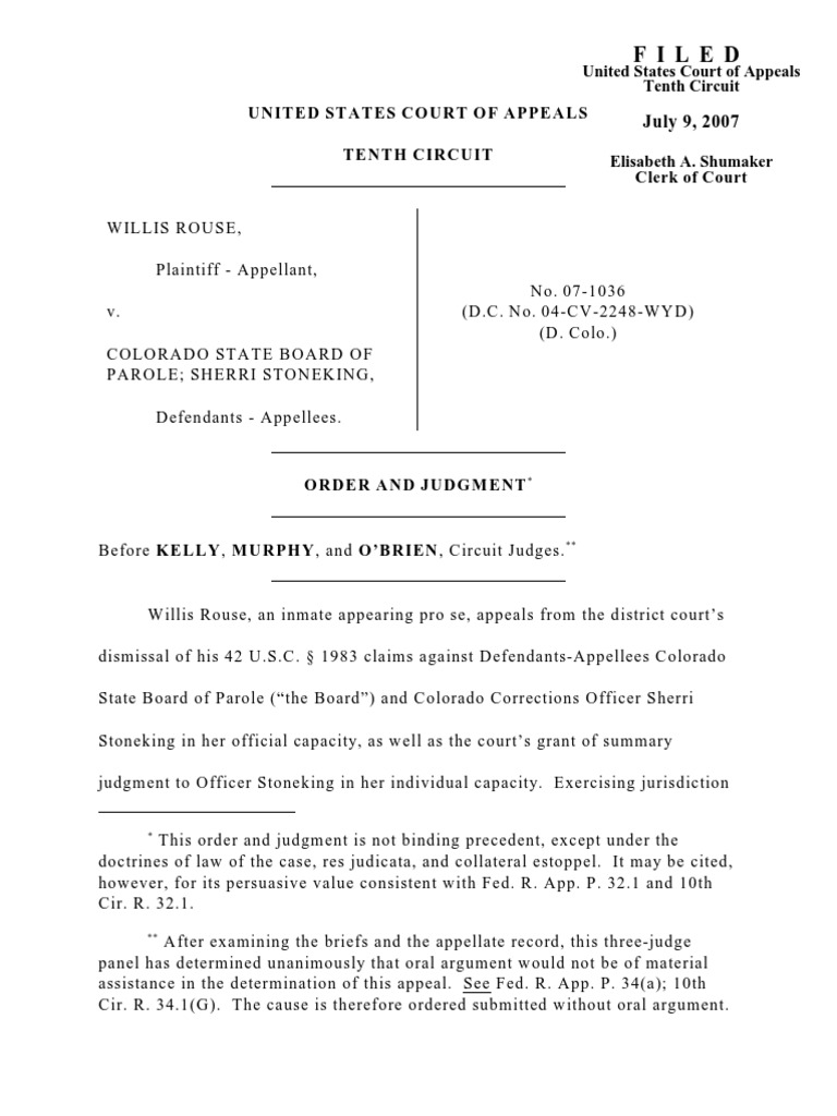 Rouse v  Colorado State, 10th Cir  (2007)   Summary Judgment