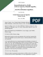 Medicare&medicaid Gu 38,982 United States of America v. Billie M. Kline, 922 F.2d 610, 10th Cir. (1990)