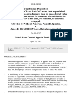 United States v. James E. Humphreys, Jr., 931 F.2d 900, 10th Cir. (1991)