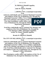 Arthur M. Primas, and Brenda M. Primas v. The City of Oklahoma City, a Municipal Corporation Fred Anderson, Individually and as Assistant Municipal Counselor and Employee of the City of Oklahoma City, Through the Municipal Counselor's Office Terry Childers, Individually and as City Manager and Employee of the City of Oklahoma City Don Pennington, a Police Officer and Employee of the City of Oklahoma City, Through the Oklahoma City Police Department, and Fred Hays, Individually and as Assistant City Manager and Employee of the City of Oklahoma City, Through the City Manager's Office, Arthur M. Primas, and Brenda M. Primas v. The City of Oklahoma City, a Municipal Corporation Fred Anderson, Individually and as Assistant Municipal Counselor and Employee of the City of Oklahoma City, Through the Municipal Counselor's Office Terry Childers, Individually and as City Manager and Employee of the City of Oklahoma City Fred Hays, Individually and as Assistant City Manager and Employee of the Cit