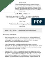 Leslie Paul v. Immigration & Naturalization Service, 961 F.2d 220, 10th Cir. (1992)