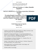 Charles J. Collins and Christina A. Collins v. Depaul Hospital, a Wyoming Corporation, and Wyoming Hospital Association, a Wyoming Non-Profit Corporation, Amicus Curiae in Support of the American Hospital Association, Amicus Curiae in Support of The, 963 F.2d 303, 10th Cir. (1992)