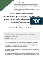 Marion O'Brien v. Metropolitan Life Insurance Company Enron Corp. Long-Term Disability Plan Enron Corp. Retirement Plan Enron Corp. Medical Plan Enron Corp. Dental Plan Enron Corp. Life Insurance Plan, 968 F.2d 20, 10th Cir. (1992)