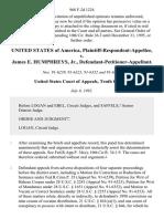 United States of America, Plaintiff-Respondent-Appellee v. James E. Humphreys, Jr., Defendant-Petitioner-Appellant, 968 F.2d 1224, 10th Cir. (1992)
