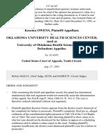 Kascina Owens v. Oklahoma University Health Sciences Center, Sued as University of Oklahoma Health Sciences Center, 5 F.3d 547, 10th Cir. (1993)