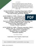 Patrick M. Dooley, Guardian of the Property of David Albiter-Ocampo, a Minor, and Ma Oralia Ocampo, Individually v. Altus Medical Corp., a Domestic Corporation Noble L. Ballard, M.D., Inc., a Professional Corporation, Noble L. Ballard, M.D., an Individual and Randall E. Sheets, an Individual, Patrick M. Dooley, Duly Appointed Legal Guardian of the Property of David Albiter-Ocampo, a Minor Ma Oralia Ocampo, Individually Sixto L. Ocampo v. Altus Medical Corp., a Domestic Corporation Noble L. Ballard, M.D., Inc., a Professional Corporation Noble L. Ballard, M.D., an Individual Randall E. Sheets, an Individual, 61 F.3d 915, 10th Cir. (1995)