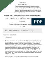 Oneok, Inc., a Delaware Corporation v. Leslie L. Ming, Jr., an Individual, 153 F.3d 728, 10th Cir. (1998)