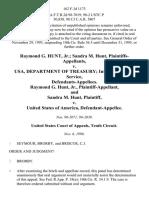 Raymond G. Hunt, Jr. Sandra M. Hunt v. Usa, Department of Treasury Internal Revenue Service, Raymond G. Hunt, Jr., and Sandra M. Hunt v. United States, 162 F.3d 1173, 10th Cir. (1998)