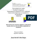 Efecto Del Uso de Ecuaciones Empíricas vs Físicamente Basadas Sobre Los Costos de Diseños Optimizados en Acueductos.