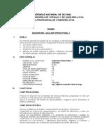Silabo Analisis Estructural i 2016