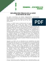 Declaración Pública CUPIP 23 de mayo  de 2010 sobre Huelga UPR