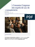 04.05.16 Consuma Congreso aprobación exprés de Ley de Transparencia