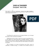 DERRIDA, Jacques, Carta de Derrida Tras La Muerte de Louis Althusser
