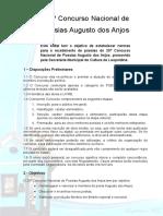 Edital do 25º Concurso Nacional de Poesias Augusto dos Anjos