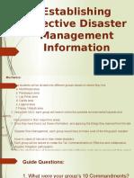 establishing effective disaster management information