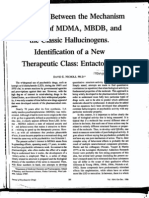 Differences Between the Mechanism of Action of MDMA, MBDB, and the Classic Hallucinogens. Identification of a New Therapeutic Class
