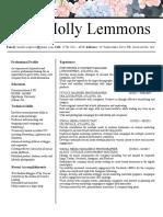 Résumé of Molly Lemmons