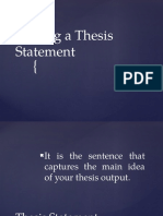 Powerpoint for Class Thesis Statement