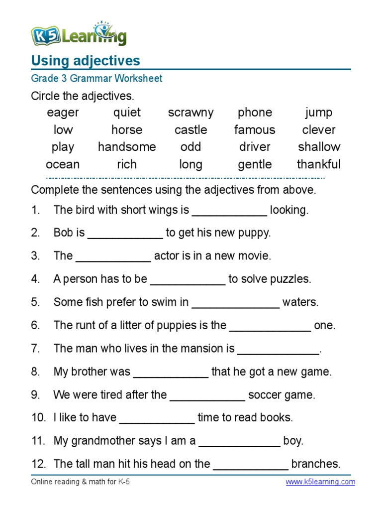 grammar worksheet grade 3 adjectives sentences. Black Bedroom Furniture Sets. Home Design Ideas