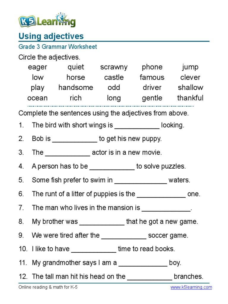 Worksheets Grammar Worksheets 5th Grade grammar worksheet grade 3 adjectives sentences 1 pdf