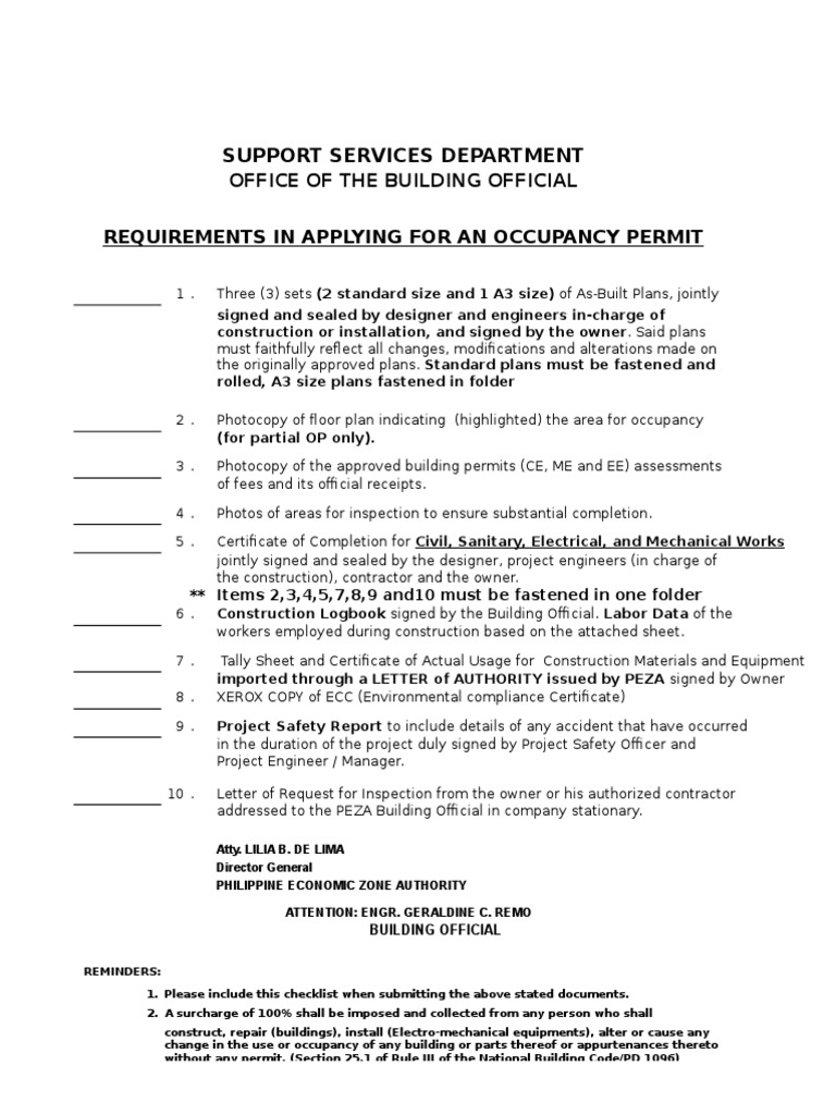 Requirements for occupancy permit for peza engineering government xflitez Choice Image