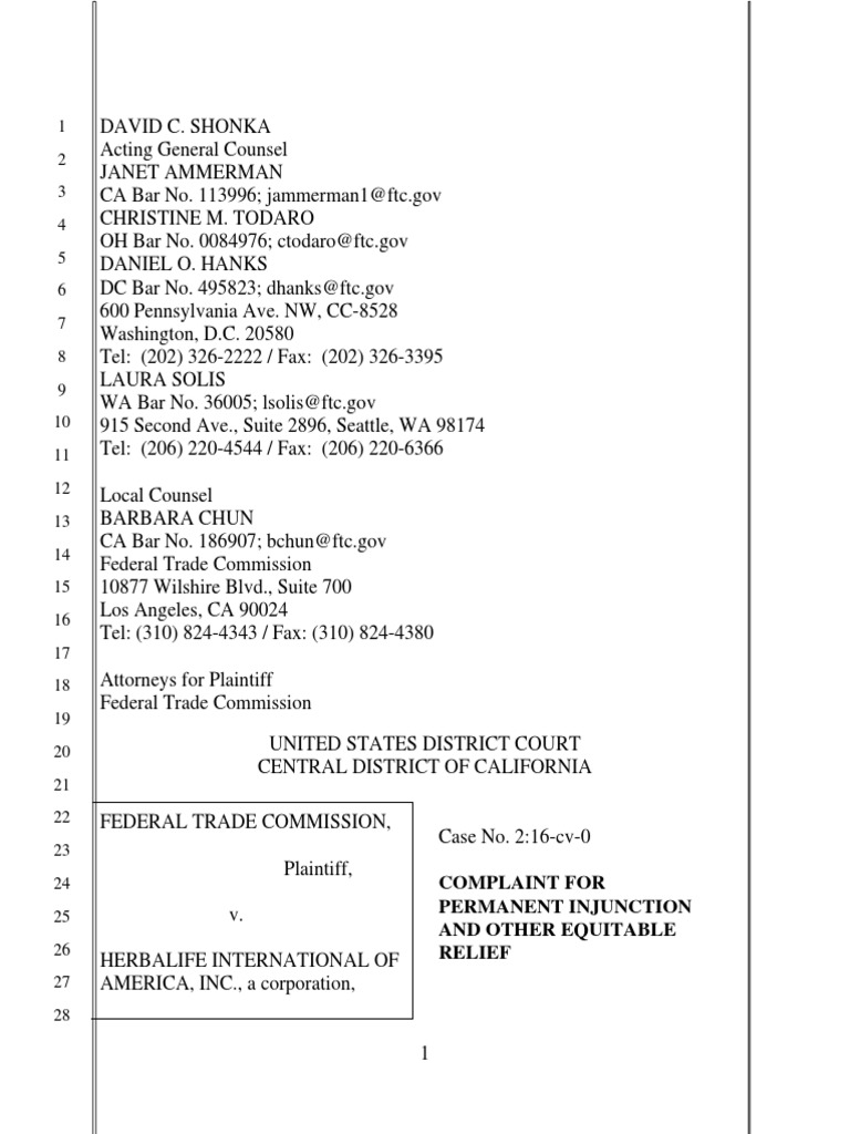 FTC Herbalife Complaint | Federal Trade Commission | Retail