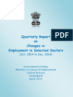 Quarterly Report on Changes in Employment in Selected Sectors (Oct, 2014 to Dec, 2014)
