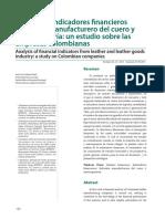 Análisis de Indicadores Financieros Del Sector Manufacturero Del Cuero y Marroquinería, Un Estudio Sobre Las Empresas Colombianas
