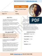 Biodata for matrimony of a working girl from a conservative family
