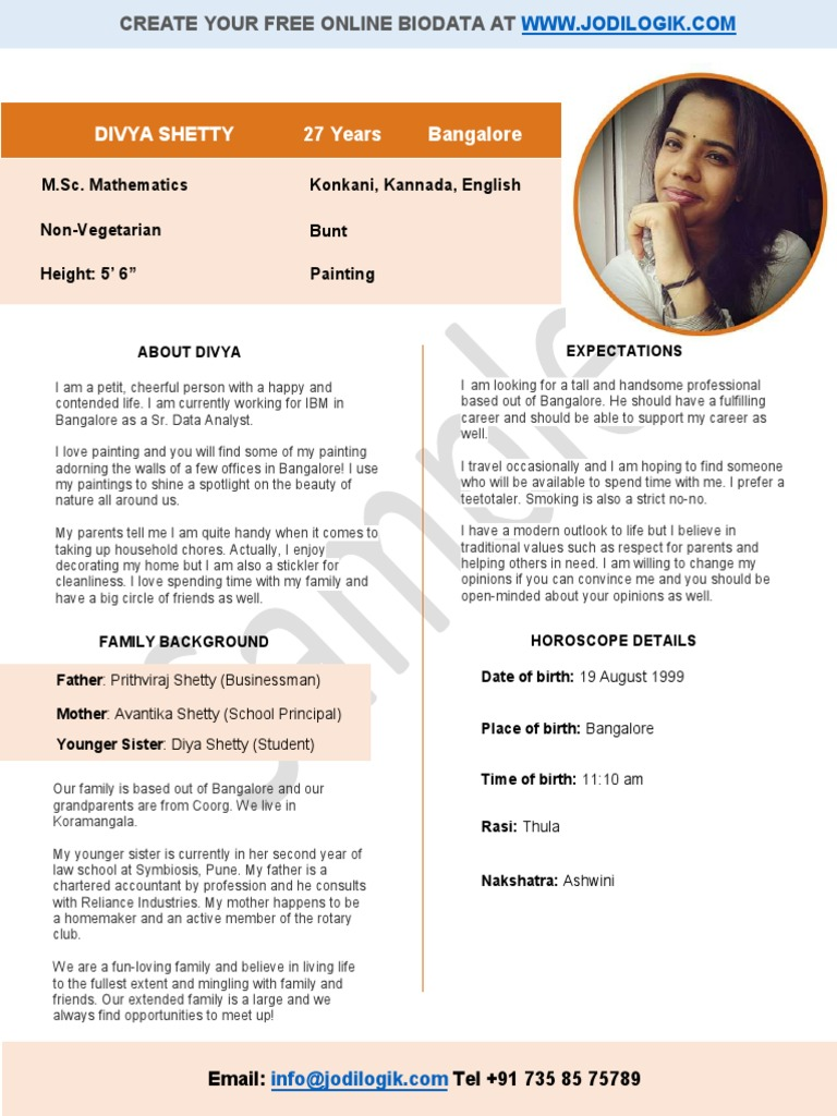 Matrimonial Resume Sample Resume Format For Marriage Resume Format