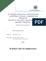 El Debate Sobre Las Implicaciones Cientificas Eticas Sociales y Legales Del Proyecto Genoma Humano Aportaciones Epistemologicas