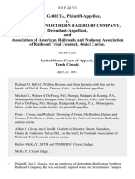 Joe E. Garcia v. Burlington Northern Railroad Company, and Association of American Railroads and National Association of Railroad Trial Counsel, Amici Curiae, 818 F.2d 713, 10th Cir. (1987)