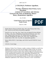 Charles Troy Coleman v. James Saffle, Warden, Oklahoma State Prison, Larry Meachum, Director, Department of Corrections, and Attorney General of the State of Oklahoma, Robert Henry, 869 F.2d 1377, 10th Cir. (1989)