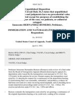 Innocente Hernandez-Romero v. Immigration and Naturalization Service, 930 F.2d 33, 10th Cir. (1991)