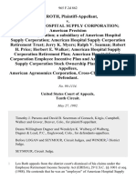 Leo Roth v. American Hospital Supply Corporation American Precision Plastics Corporation a Subsidiary of American Hospital Supply Corporation American Hospital Supply Corporation Retirement Trust Jerry K. Myers Ralph v. Seaman Robert H. Price Herbert E. Walker American Hospital Supply Corporation Retirement Plan American Hospital Supply Corporation Employee Incentive Plan and American Hospital Supply Corporation Stock Ownership Plan, American Agronomics Corporation, Cross-Claim And, 965 F.2d 862, 10th Cir. (1992)