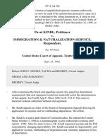 Pavel Kindl v. Immigration & Naturalization Service, 977 F.2d 595, 10th Cir. (1992)
