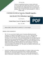 United States v. Jack David Cox, 72 F.3d 138, 10th Cir. (1995)