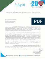 Lettre aux Candidats à la Présidence et Aux Partis Politiques Impliqués dans le Processus Electoral