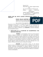 ABSOLUCION DE EXCEPCION DE INCOMPETENCIA TERRITORIAL