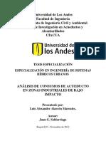 Análisis de Consumos de Acueducto en Zonas Industriales de Bajo Impacto