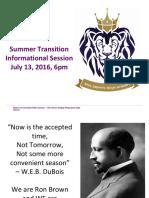 Summer Transition Informational Session 2016