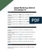 Jadwal World Cup 2010 Di RCTI