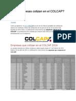 Qué Empresas Cotizan en El COLCAP